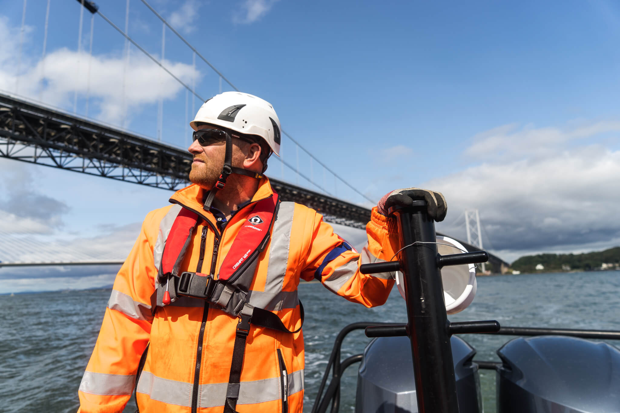 Spencer Employee looking at the Forth Road Bridge